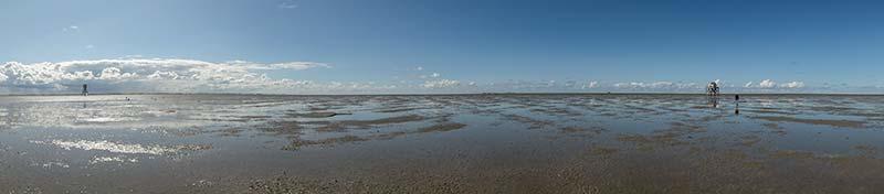 Links de Kaap en rechts het Vogelwachtershuisje op de Engelsmanplaat
