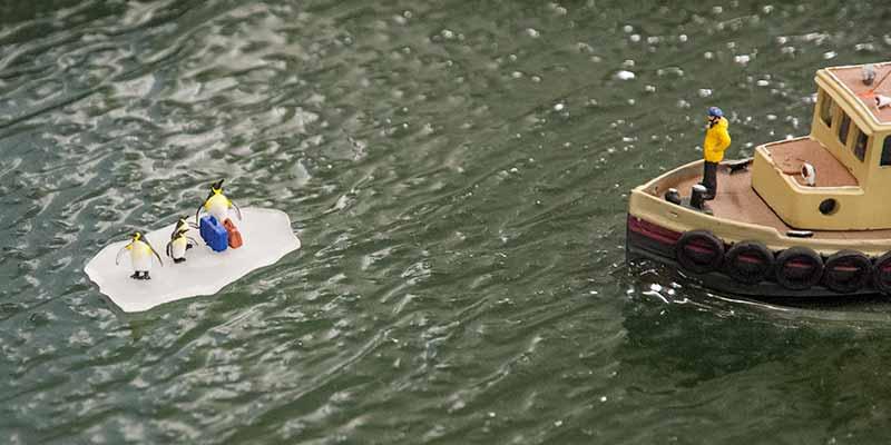 Verdwaalde pinguïns op een ijsschots in Mini World Rotterdam