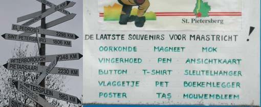 Links alle Pieterbestemmingen. Rechts de laatste souvenirs voor Maastricht, gezien in Pieterburen aan het begin van het Pieterpad