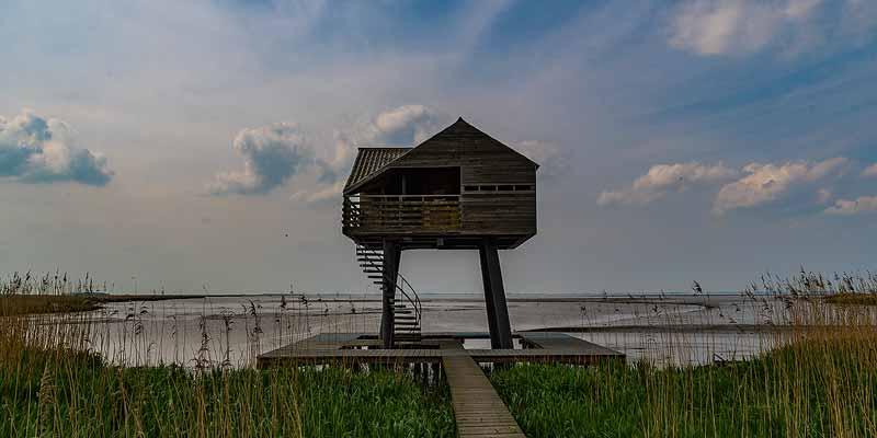 Vogelkijkhut De Kiekkaaste aan de Dollard bij Nieuw Statenzijl